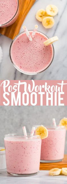 This Post Workout Smoothie is the perfect drink to recharge. This Post Workout Smoothie is the perfect drink to recharge after a tough workout! Chock full of ingredients to replenish your body. Fitness Smoothies, Smoothie Proteine, Post Workout Smoothie, Healthy Smoothies, Healthy Drinks, Fruit Smoothies, Healthy Protein, Healthy Detox, Eat Healthy