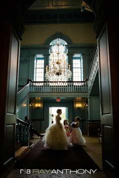 Bride and flower girls gathering in the Clocktower of the Henry Ford Museum.