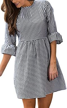 HOTAPEI Women's Casual Summer Sleeve Fit and Flare Mini Dress Sundresses at Women's Clothing store: Sexy Dresses, Casual Dresses, Fashion Dresses, Short Sleeve Dresses, Mini Dresses, Women's Fashion, Fashion Black, Cotton Dresses, Party Dresses