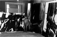"""Franz Kline with his towering canvases. He stands just to the left of one of my favorites, """"Torches Mauve"""" (now housed at Philadelphia Museum of Art)."""
