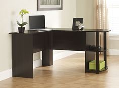 L-Shaped Desk with Bookshelves Wooden Corner Office Computer Dark Russet Cherry