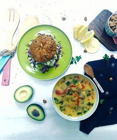 Supa de ciuperci si burger vegan