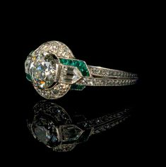 Diamond and emerald Art Deco ring - swoon! Maybe champagne diamonds instead of emeralds?