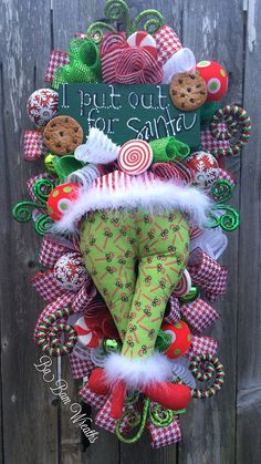 Christmas Mesh Wreath Christmas Swag Elf Wreath by BaBamWreaths
