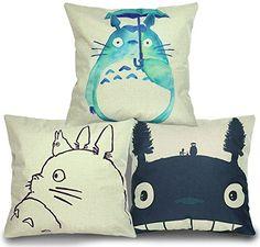 Luxbon Packung mit 3 Kissenbezug Mein Nachbar Totoro Lendenkissen Bettkissen Pillowcase Haus Couch Stuhl Zimmer Auto Deko 18 '' x 18 ''