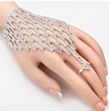 Ab Silver Hand Chain Crystal Clear Rhinestone Costume Pageant Bracelet Wedding