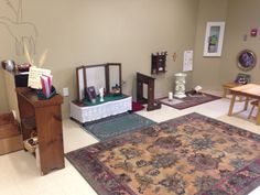 Catechesis of The Good Shepherd Level 1 Atrium at Sacred Heart in Aberdeen SD.  Prayer Table & Corner