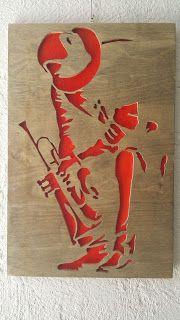 woodarsia: Jazz player. W26cm H40cm.