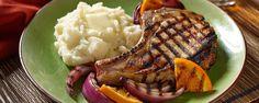Honey BBQ Pork Chops with Grilled Oranges Recipe Pork Sausage Recipes, Pork Chop Recipes, Grilling Recipes, Cooking Recipes, Grilling Tips, Barbecue Pork Chops, Pork Chop Marinade, Ranch Pork Chops, Honey Bbq