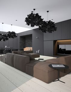 Located in Crimea, on the northern coast of the Black Sea, this apartment has a very stylish interior. It's contemporary and it has a subtle dramatic touch