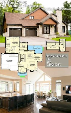 Architectural Designs House Plan 22454DR gives you 3 beds, 2.5 baths and over 2,300 square feet of heated living space. Ready when you are. Where do YOU want to build? #22454DR #adhouseplans #architecturaldesigns #houseplan #architecture #newhome #newconstruction #newhouse #homedesign #dreamhome #dreamhouse #homeplan #architecture #architect #northwest