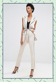 Model wearing Alter Tall sleeveless blazer and matching cigarette trousers in taupe, both from ASOS