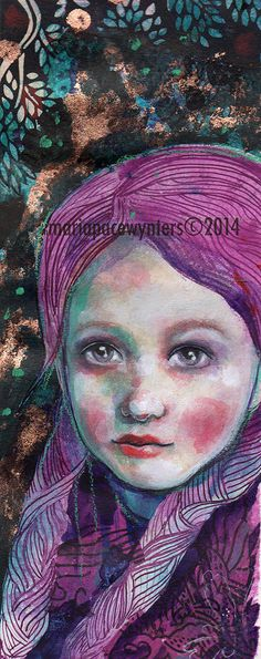 Purple Braids Original mixed media painting by by MariaPaceWynters