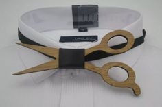 Mens bow tie wooden scissors