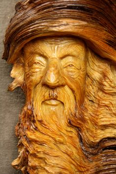 Wood Spirit Carving Christmas Gift Log by TreeWizWoodCarvings, $125.00