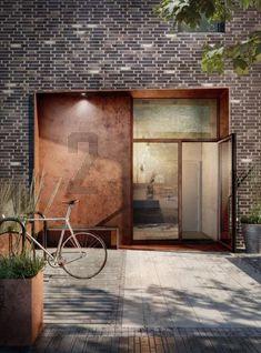 26 ideas exterior brick detail landscaping for 2019 Modern Entrance, Entrance Design, Facade Design, Door Design, Exterior Design, Brick Cladding, Brick Facade, Exterior Cladding, Exterior Stairs