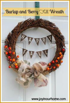 DIY Burlap and Berry Fall Wreath  Tutorial www.joyinourhome.com