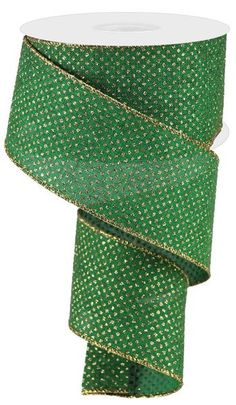 """Excited to share this item from my #etsy shop: Emerald Green Light Gold Glitter Micro dot wired ribbon, Christmas ribbon, 2.5"""" dot emerald green gold ribbon, micro dot ribbon, RGA1732MF #green #christmas #canvas #gold #waysidewhimsy Christmas Ribbon, Christmas Canvas, Green Christmas, Emerald Green, Green And Gold, Gold Ribbons, Wired Ribbon, Gold Glitter, Christmas Decorations"""