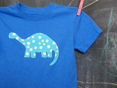 Blue Dinosaur Appliqued Tshirt Short Sleeve Royal by JaneandJoshua