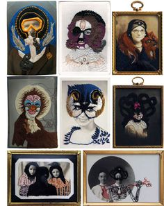 embroidery/collage/assemblage over photos - image: embroidered works by Stacey Page