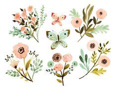 watercolor hand painted flowers vintage flowers by rosabebe floral rh pinterest com floral clipart pinterest floral clipart free