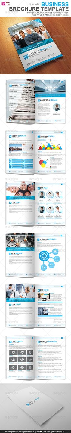 Gstudio Business Brochure Template #GraphicRiver Live Preview Brochure template design is easy Customisable or change color & picture/photo with own. Template is multipurpose make for business,coporate,personal project etc. Features: 14 page indesign (INDD,IDML,INDT) & PDF press quality file File easy Customize or change color more with own. 2 size US.paper 8.5×11 Inch & International paper 8.2×11.7 Inch & 3mm. bleeds CMYK color 300 dpi print ready Photo are not included Credit Picture Use…