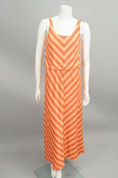 Peach Chevron Design Maxi Dress #sageclothing