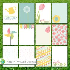 Project Life Spring, Spring Journaling Cards, Project Life Inspired Printable JPEG, Simple Stories, Digital Scrapbooking, Instant Download, #Spring, #flowers, #ladybug #ProjectLife
