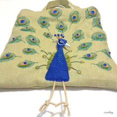 """Peacock felt applique and embroidery mini bag by e.no.bag """"クジャク ノ バッグ """" #peacock #felt #embroidery"""