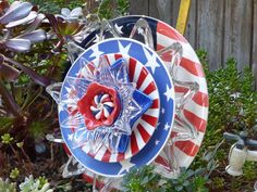 Patriotic Plate Flower #651 Drought Resistant. Garden Yard Art glass and ceramic plate flower.