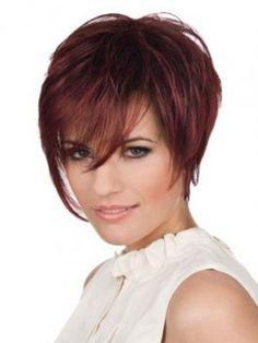Faddish Short Straight Layers Cut Human Hair Lace Front Wig 133 (Free Shipping)