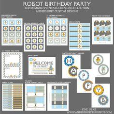 ROBOT Birthday Party Printable COLLECTION - Robot Party Printables