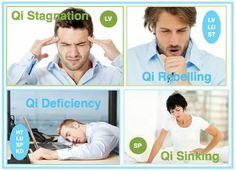 QI Stagnation (Lv), Rebelling (Lv, Lu, St), Deficiency (Ht, Lu, St, Kd), Sinking (Sp)