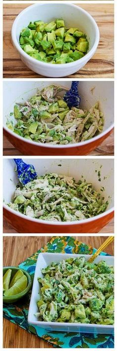 Chicken and Avocado Salad with Lime and Cilantro. Yogurt instead of mayo? Chicken and Avocado Salad with Lime and Cilantro. Yogurt instead of mayo? Avocado Recipes, Paleo Recipes, Mexican Food Recipes, Cooking Recipes, Cilantro Recipes, Lunch Recipes, Healthy Snacks, Healthy Eating, Eat Better