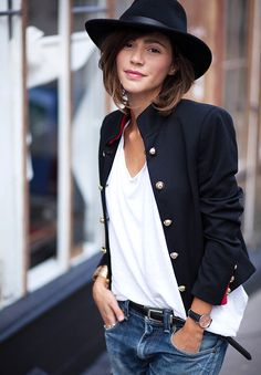 Love stand up collars! And short jackets. Like a sleeve that ends above the wrist.