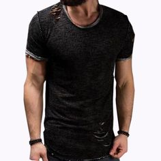 323ab034324 Mens Summer Stylish Holes Solid Color O-neck Short Sleeve Slim Fit Casual T  Shirts on sale-NewChic