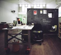 3. Your Dream Desk:  I'm tired of cubicles! Give me something open where I can work but still communicate with others. Love the chalkboard for brainstorming and doodling! (might get myself a better chair though)  #modcloth #makeitwork