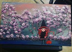 "Buy it now 20 dollars original han painting LANDSCAPE /fantasy ""Evil Witch ""  #Miniature"