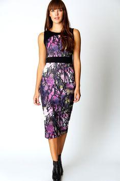 Maria Printed Bodycon Midi Dress