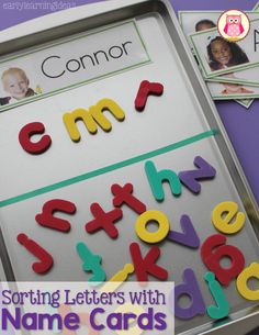 Kids are very interested in the letters in their names.  Sorting magnetic letters with name cards is a great way to help kids learn the alphabet.  A cookie sheet with a washi tape divider makes an excellent tray for sorting magnetic letters.  This is a great literacy activity for preschool and pre-k.
