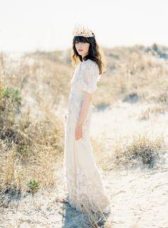 Claire Pettibone Flowers Wedding Dress. If I were to do a nautical wedding...