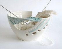 Beautiful Knitting bowl, White yarn bowl BlueRoomPottery, mint green twisted leaf bowl, bright knitter gift, Yarn supplies