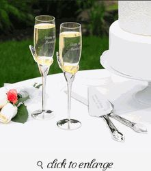 Wedding Toasting Glasses - Wedding Toasting Flutes - Lily Champagne Flutes
