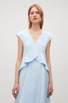 COS image 7 of Draped cap-sleeve dress in Sky Blue