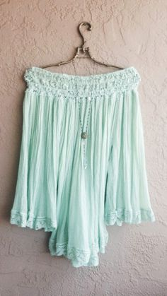 Mint green Gauze peasant cape sleeve beach tunic