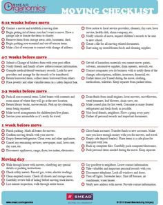 Moving Checklist - I have a lot to do in the next few weeks...