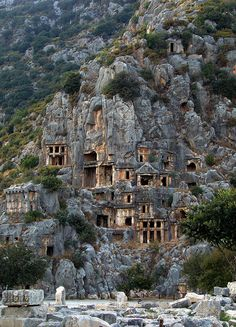 Rock-cut tombs in Myra, an ancient town in Lycia, where the small town of Kale is situated today in present day Antalya Province of Turkey. It was located on the river Myros (Demre Çay), in the fertile alluvial plain between Alaca Dağ, the Massikytos range and the Aegean Sea.
