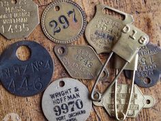 Vintage pins, tags and badges.