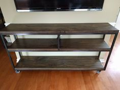 Beau Industrial Console Table With Caster Wheels