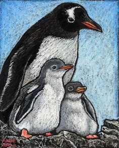 Penguin Family  8x10 Archival Print of Original Oil pastel by AndeHallFineArt, $16.00